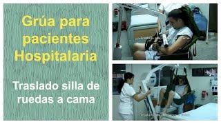 Grua traslado paciente - Traslado silla de ruedas a cama (Grúa ref. G006 y Arnés A001)