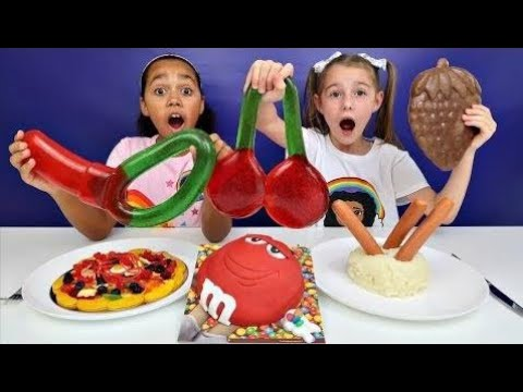 Real Food Vs Gummy Food Gross Giant Candy Challenge Mommy