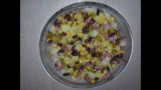 САЛАТ.  ;ПАЛОЧКА ВЫРУЧАЛОЧКА;  вкусный , быстрый,  с фасолью и солеными  огурцами. Вкусные/Истории