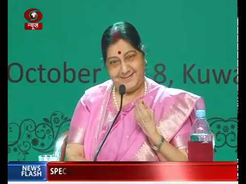 EAM Sushma Swaraj interacts with Indian community members in Kuwait