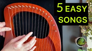 5 EASY LYRE Songs in 5 Minutes - BEGINNER Lyre Harp Tutorial