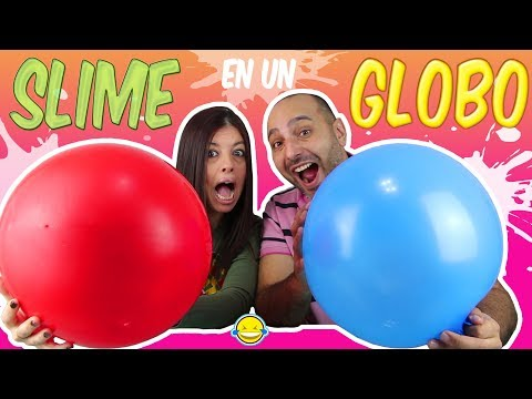 HACIENDO SLIME DENTRO DE UN GLOBO GIGANTE!! Making Fuffly and Crunchy Slime with giant ballon!! DIY