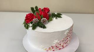 Как Сделать РОЗЫ Насадкой 128 Торт на ДЕНЬ Рождения зимний вариант Красивый торт