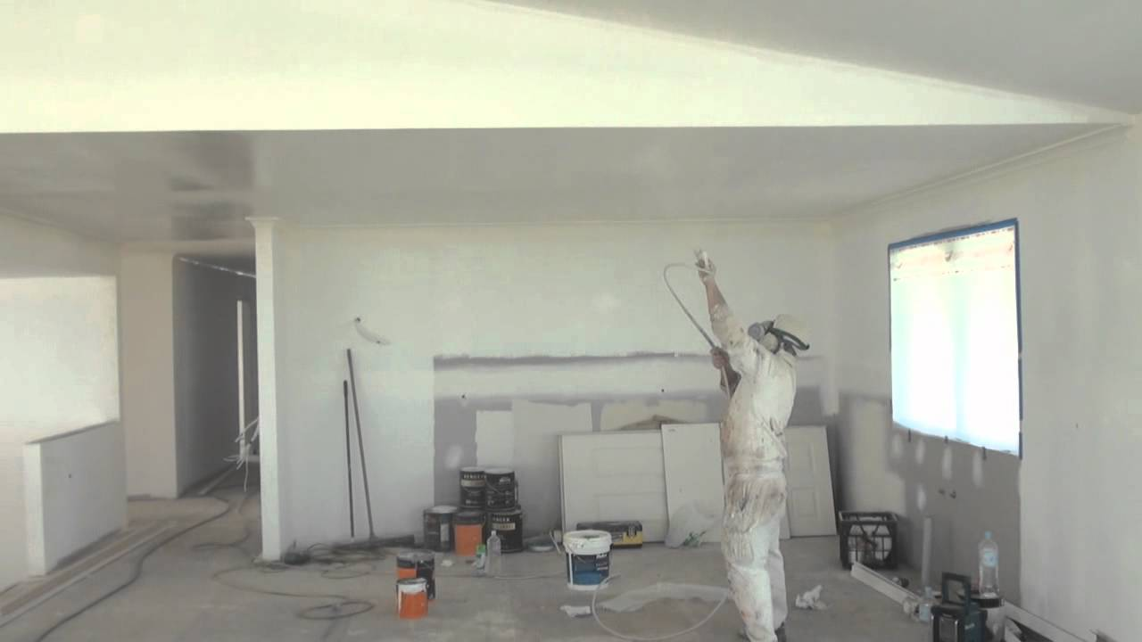 paint a ceiling the easy way by using an airless spray gun youtube. Black Bedroom Furniture Sets. Home Design Ideas