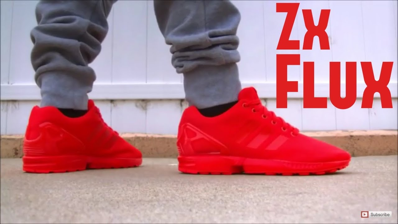 Adidas Zx Flux All Red On Feet