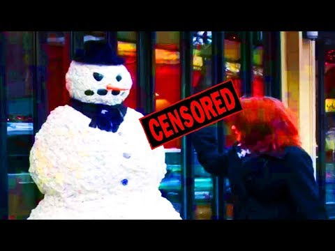 Scary Snowman *GONE KARATE* VIOLENT Prank 3-4