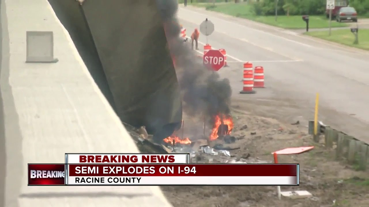 Semi crash, fire closes I-41 in Racine County