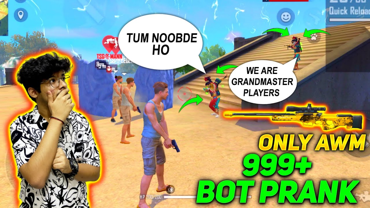 FREE FIRE || NO INTERNET BOT PRANK ON RANDOMS - THEY THOUGHT WE ARE NOOB || FUNNY LIVE REACTION