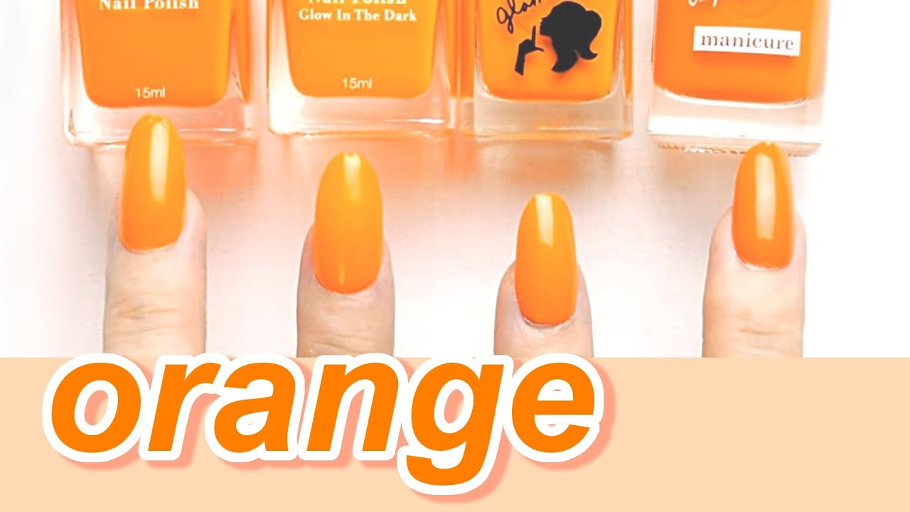 【比較】100均ダイソー・セリア・キャンドゥのオレンジカラーポリッシュ☆ハロウィンネイルに