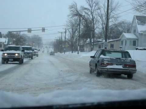 A Snowy Drive in Newton, Iowa