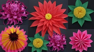 5 Easy Paper Flowers || DIY Paper Flower Making For Wall Hanging