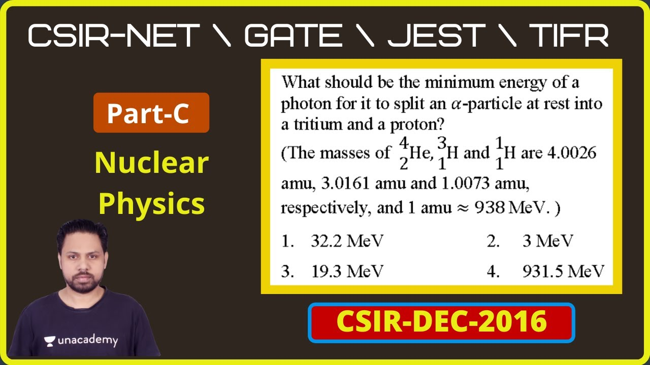 DEC 2016 CSIR-NET | Part C | Q. No 73 |Nuclear physics |POTENTIAL G