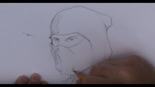 Learn to draw a Ninja - version 4 of 5 - Close-up Ninja Head