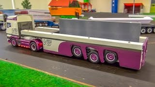 RC truck with handmade lift trailer in 1/32 scale!