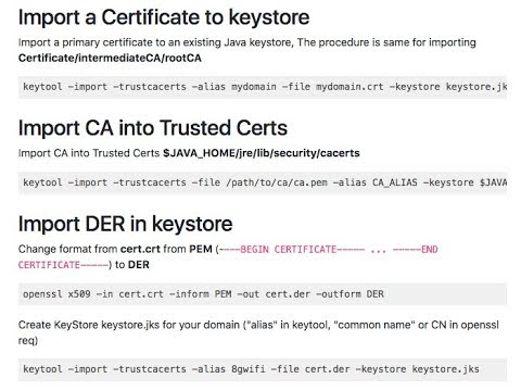 top java keytool keystore commands