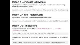 java keytool keystore commands