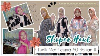 SHOPEE HAUL + TRY ON Tunik Motif Kekinian cuma 50 rb'an | Busui Friendly + Real Pict !! ☘️