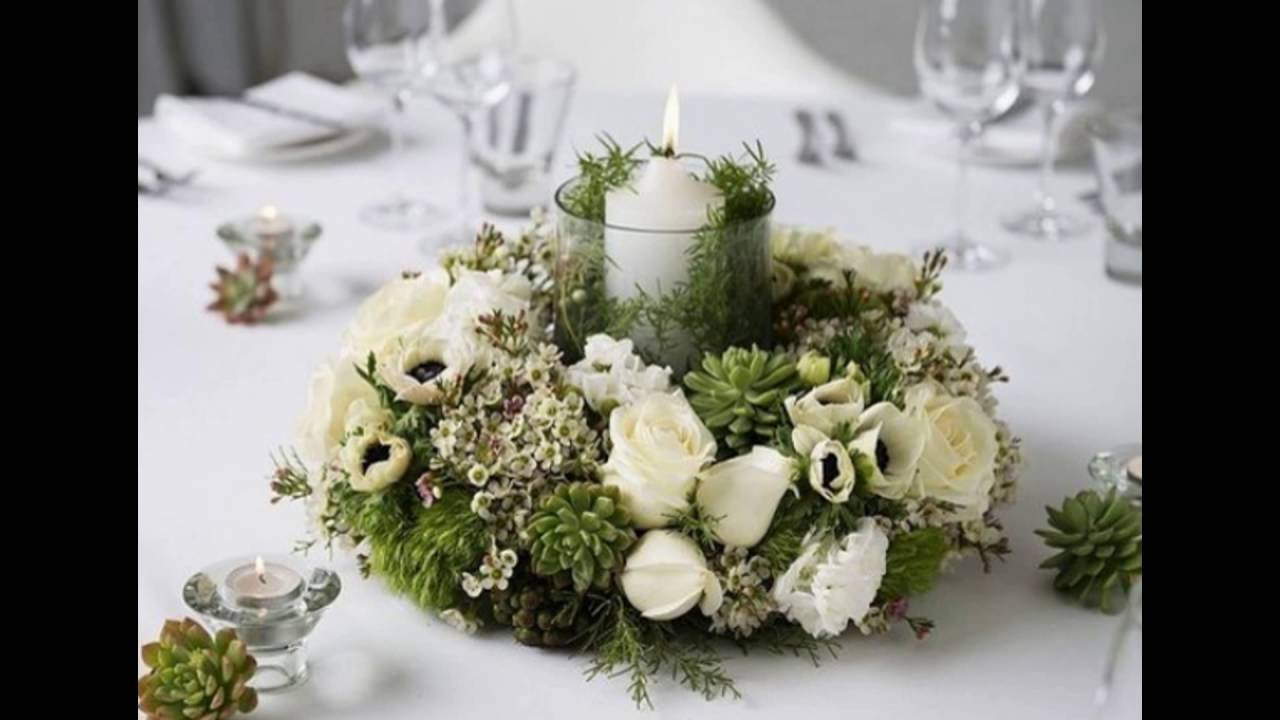 Green And White Centerpiece Arrangement Youtube