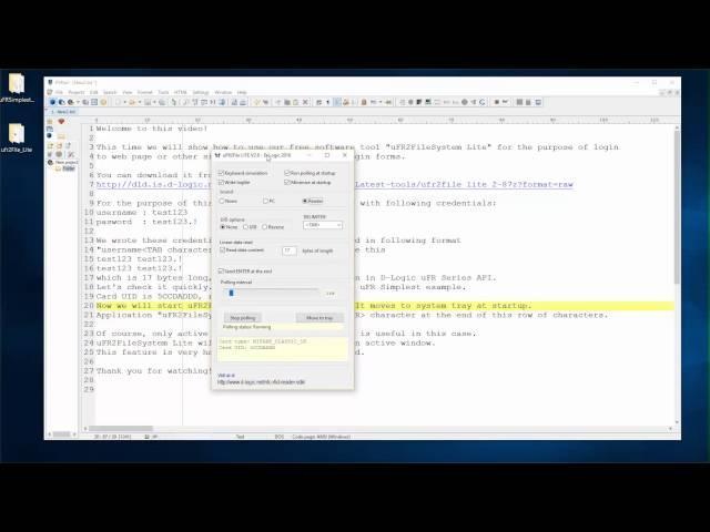 Digital Logic - using uFR2FileSystem Lite keyboard emulation for login with card