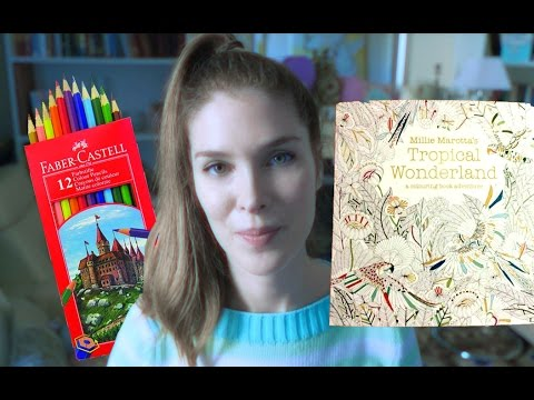 ASMR Colouring Book Tropical Wonderland with Faber Castell Pencils - No Talk