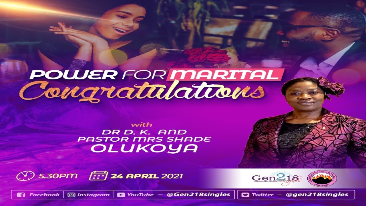 Download Power For Marital Congratulations with Pastor (Mrs) Shade Olukoya (24-04-2021)