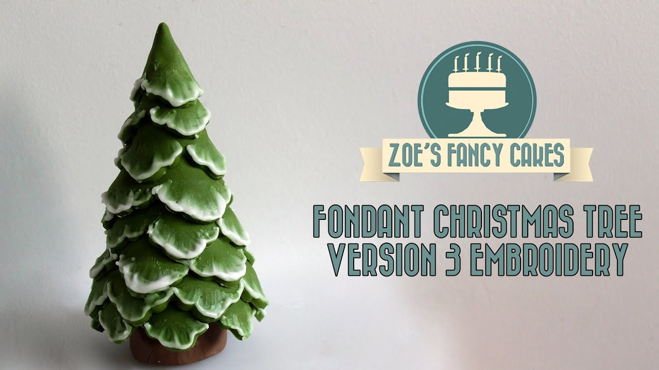 Brush Embroidery Christmas Tree Cake Topper Snow Using