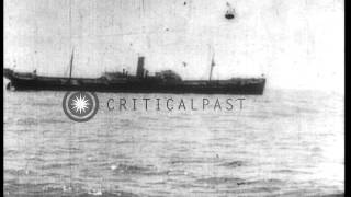 British ship Patagonia is sunk by the German U-Boat, UB-7, during World War I HD Stock Footage