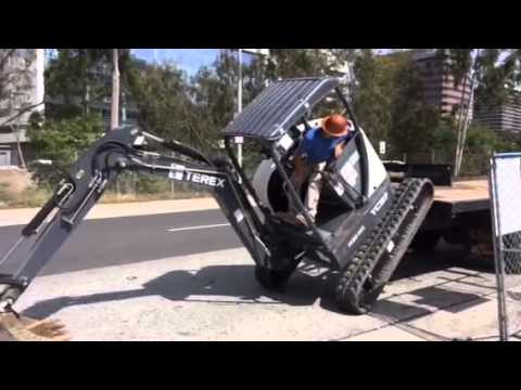 Terex Mini Excavator Unload From Truck
