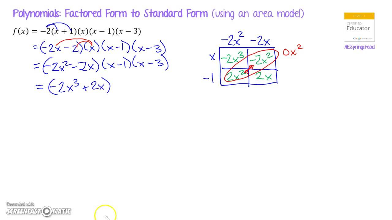 Polynomials Factored Form To Standard Form Youtube