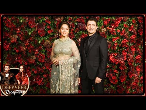 Madhuri Dixit With Husband Sriram Nene At DeepVeer Wedding Reception In Mumbai 2018