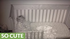 Baby cam documents little girl's first night in toddler bed