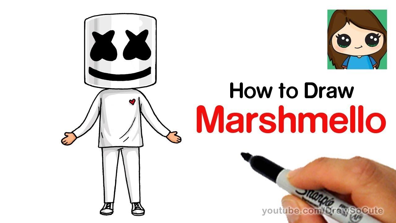 How To Draw Marshmello Easy Youtube
