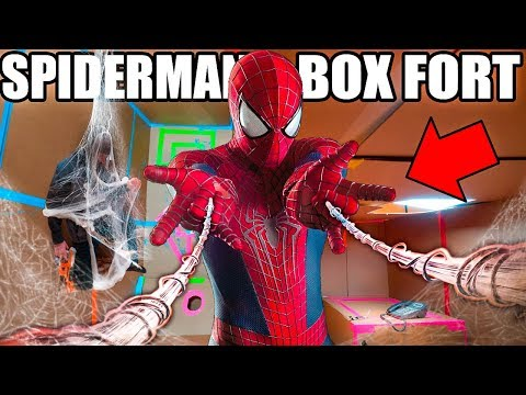 SPIDER MAN BOX FORT BASE!! 📦🕷 Spiderman Adventure, Nerf, Gadgets & More!