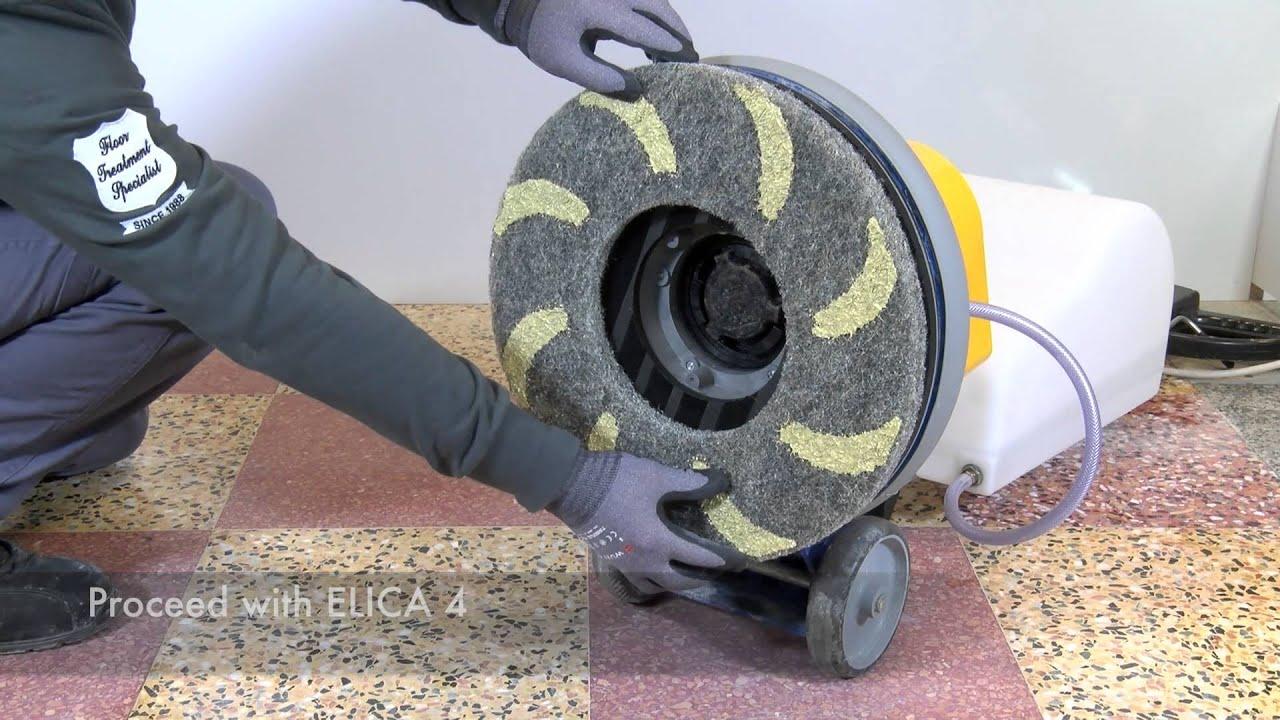 Terrazzo Polishing with Elica diamond floor pads  by
