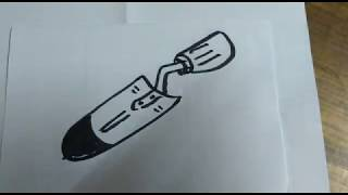 How to draw a Trowel? free online Drawing Lessons and Crafts for Kids and Children