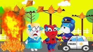 SuperHero Mega Gummy Bear SpiderMan Bear was Caught by Police   Finger Family Rhyme For Kids