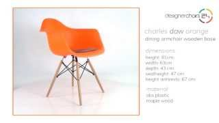 Eames Dining Armchair Wooden Base (daw) Orange