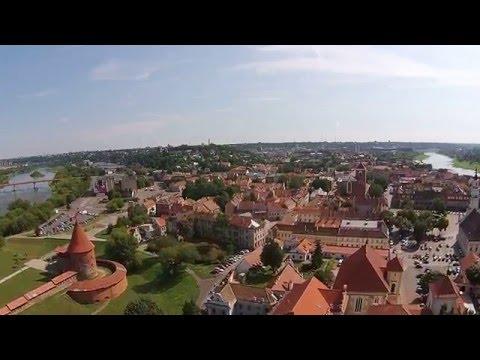 HD video virš Kauno senamiesčio, filmuota Dronu DJI Phantom. Drone flight above Kaunas, Lithuania