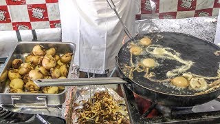 Italy Street Food. Huge Mix of Fried Food, Sausages, Meat and Seafood