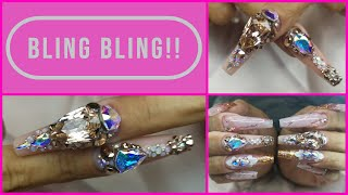 BLING BLING NAILS - How to Apply Stone Clusters To A Full Nail