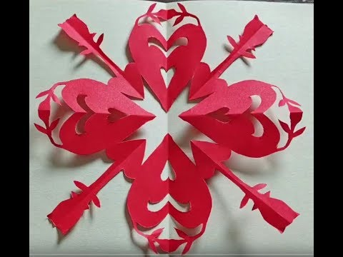 Love Heart and Red Rose Paper Cutting - Valentine's Day Gift - 情人节礼物