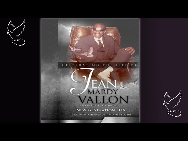 Celebration Of Life   Jean Mardy Vallon   September 10, 2021   10:00AM Viewing - 11:00AM Funeral
