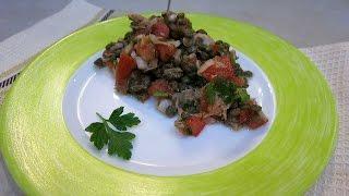 Салат с чечевицей, тунцом и помидорами - рецепт правильного питания