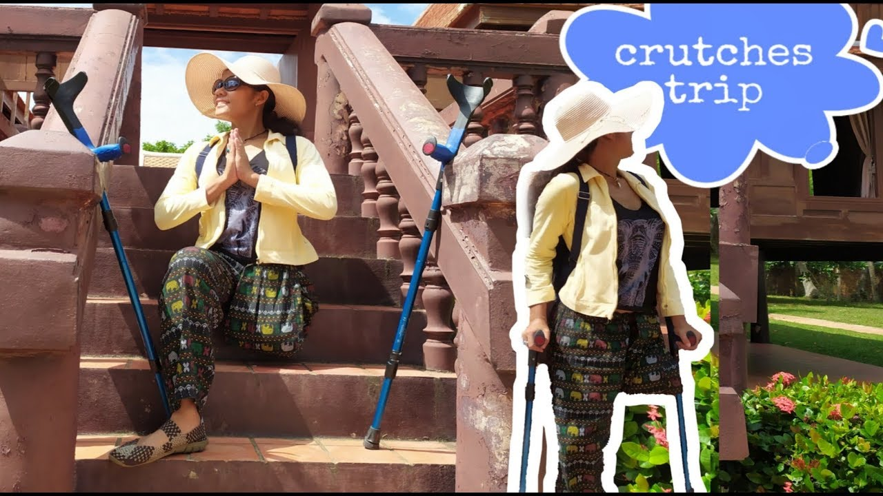 Ampwom amputee woman 2019 with crutches takes a short trip to the ancient palace  |landschaftspalast