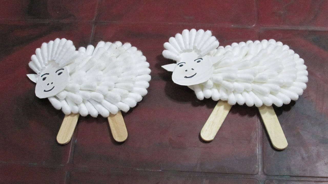 How to make sheep using cotton buds for u r children at home youtube how to make sheep using cotton buds for u r children at home jeuxipadfo Images
