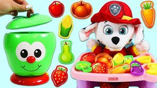 PAW PATROL Baby Marshall Learns Colors, Fruits, & Vegetable Names with Talking Fruit Jar!