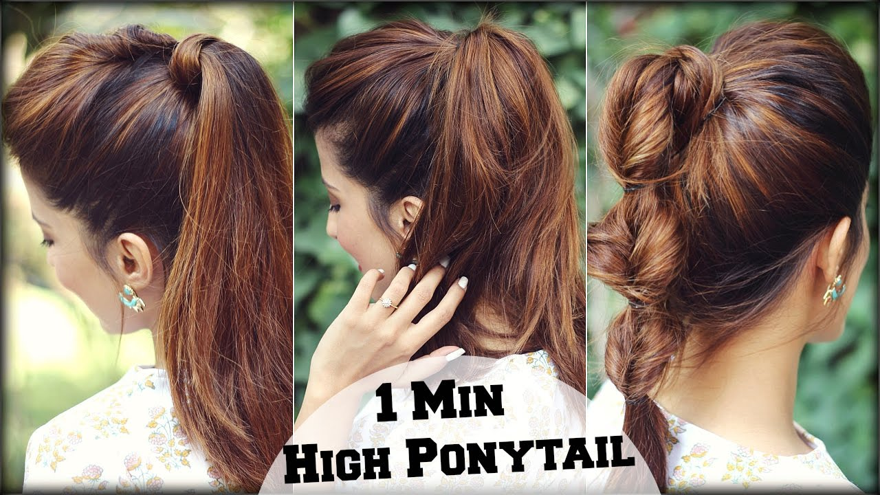 3 Easy Everyday High Ponytail Hairstyles With Puff For School