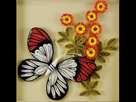Diy how to make butterfly with quilling paper youtube for Tutorial papillon