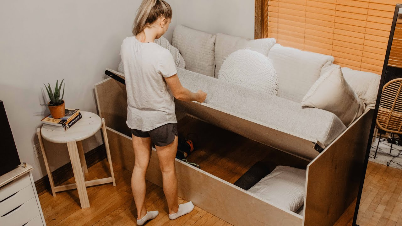 diy sofa bed with storage