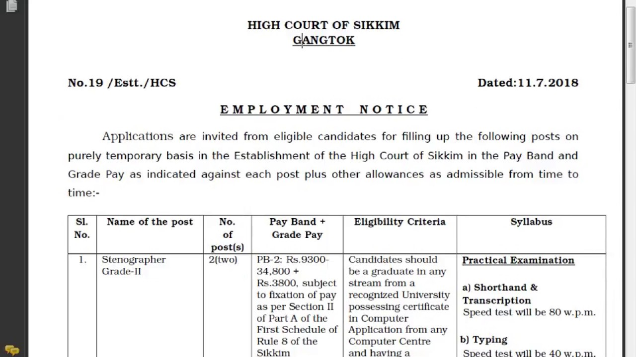High Court Of Skkim Stenographer Vacancy Legal Shorthand Shadab